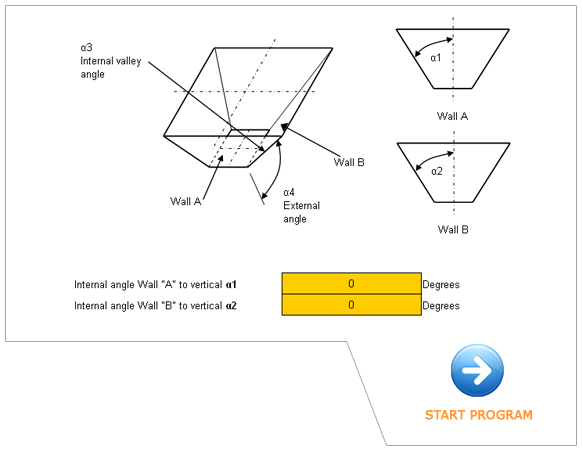 Online HOPPER VALLEY ANGLE calculator